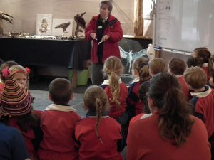 Miriam Fokker with school group in the Education Centre