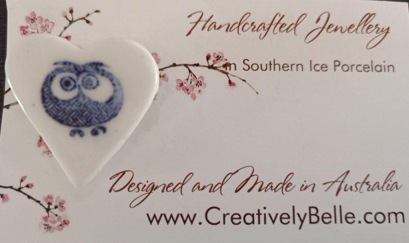 Porcelain Owl Brooch