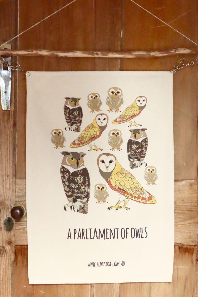 Parliament of Owls Tea Towel